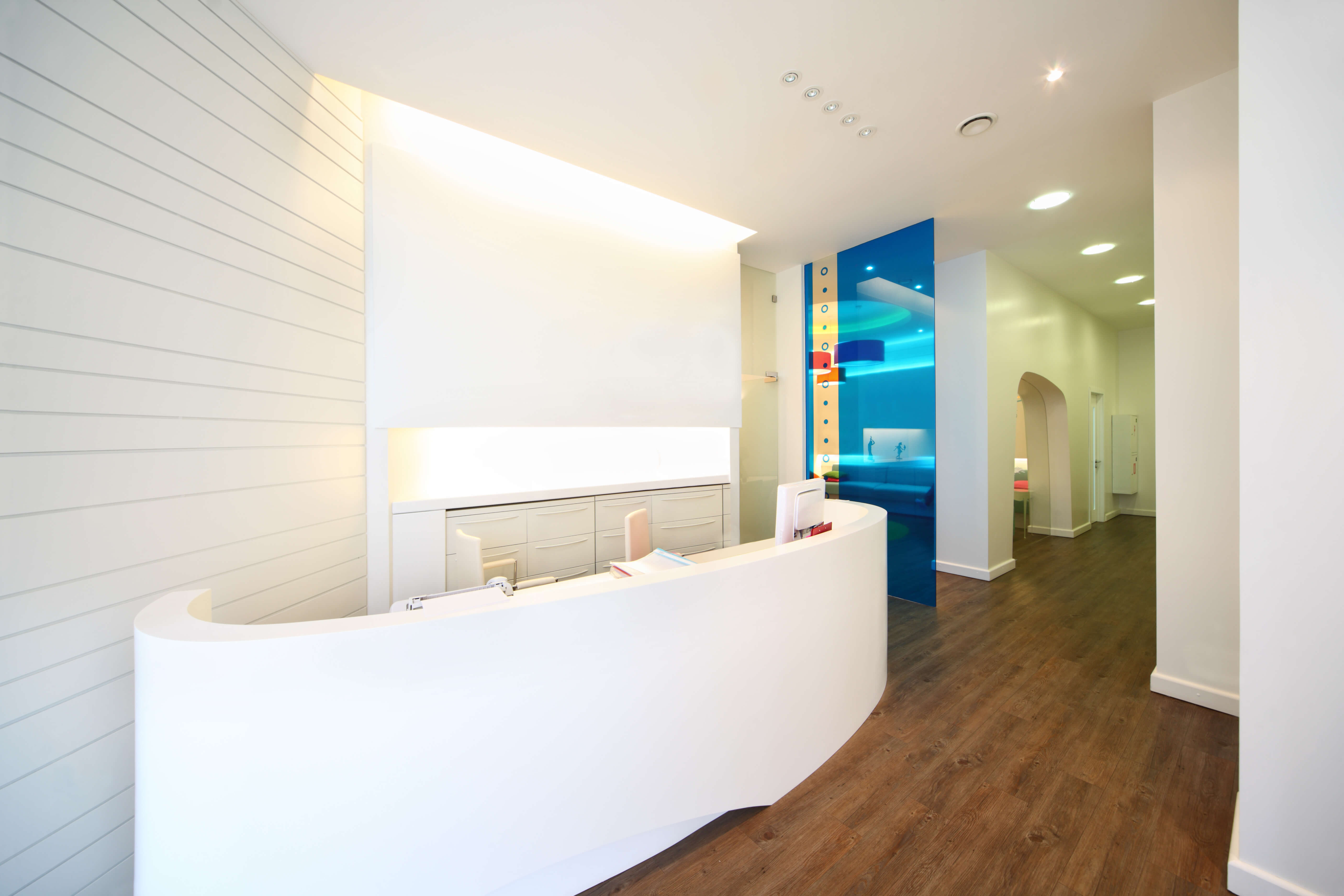 Lit reception area in dental clinic medical centre development